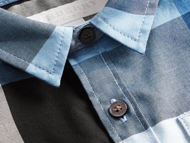 Short-sleeved Check Cotton Shirt Pale Blue - cell image 1