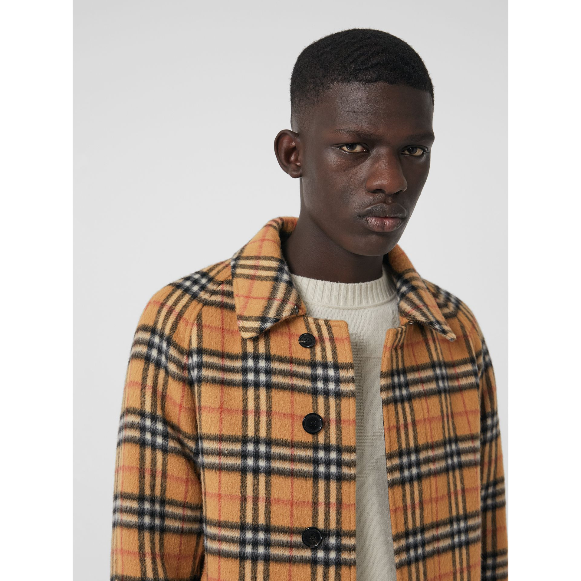 Vintage Check Alpaca Wool Car Coat in Antique Yellow - Men | Burberry United States - gallery image 1
