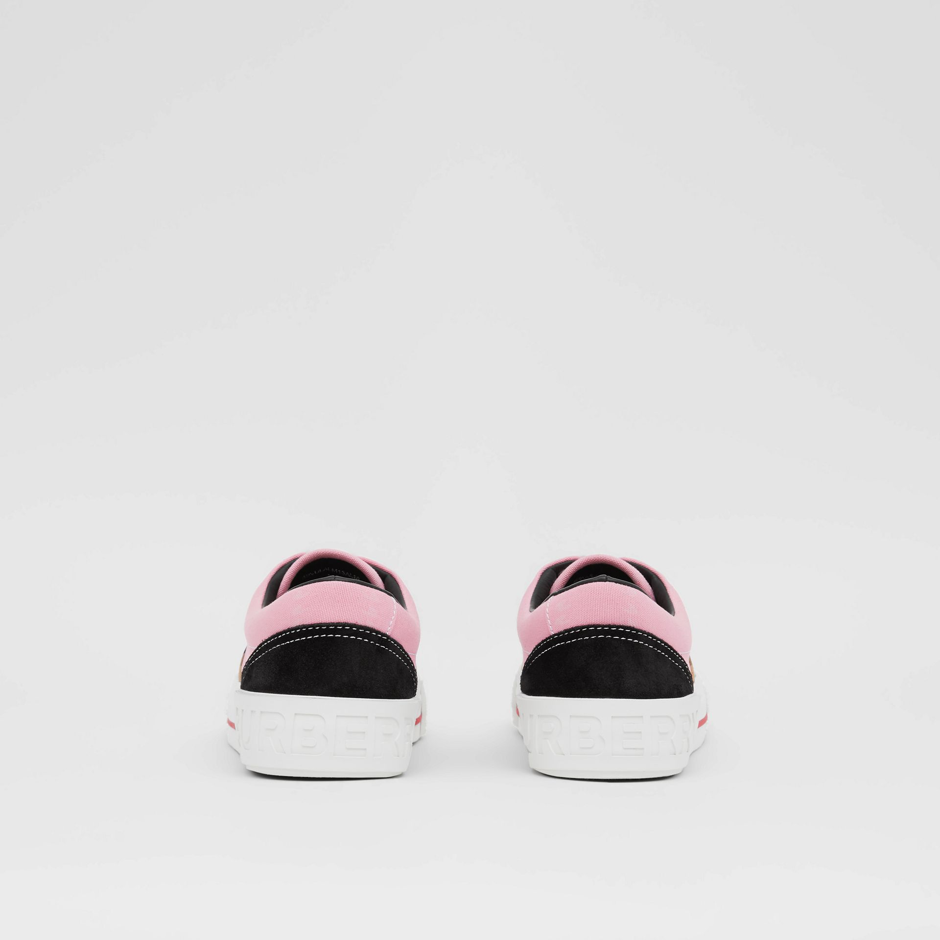 Vintage Check, Cotton Canvas and Suede Sneakers in Archive Beige/pink - Women | Burberry - gallery image 4