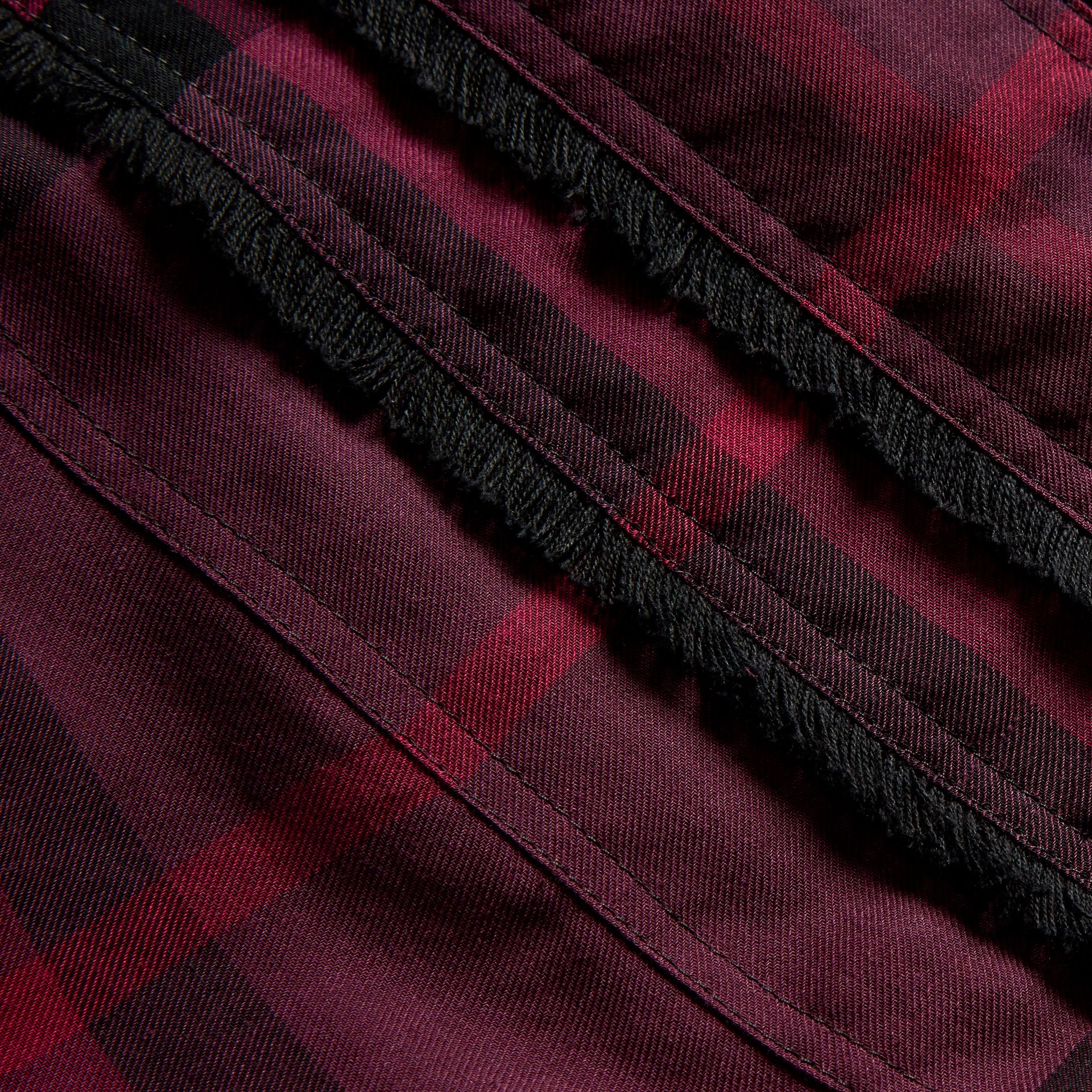 Blackcurrant Short-sleeved Fringed Check Cotton Top Blackcurrant - gallery image 2
