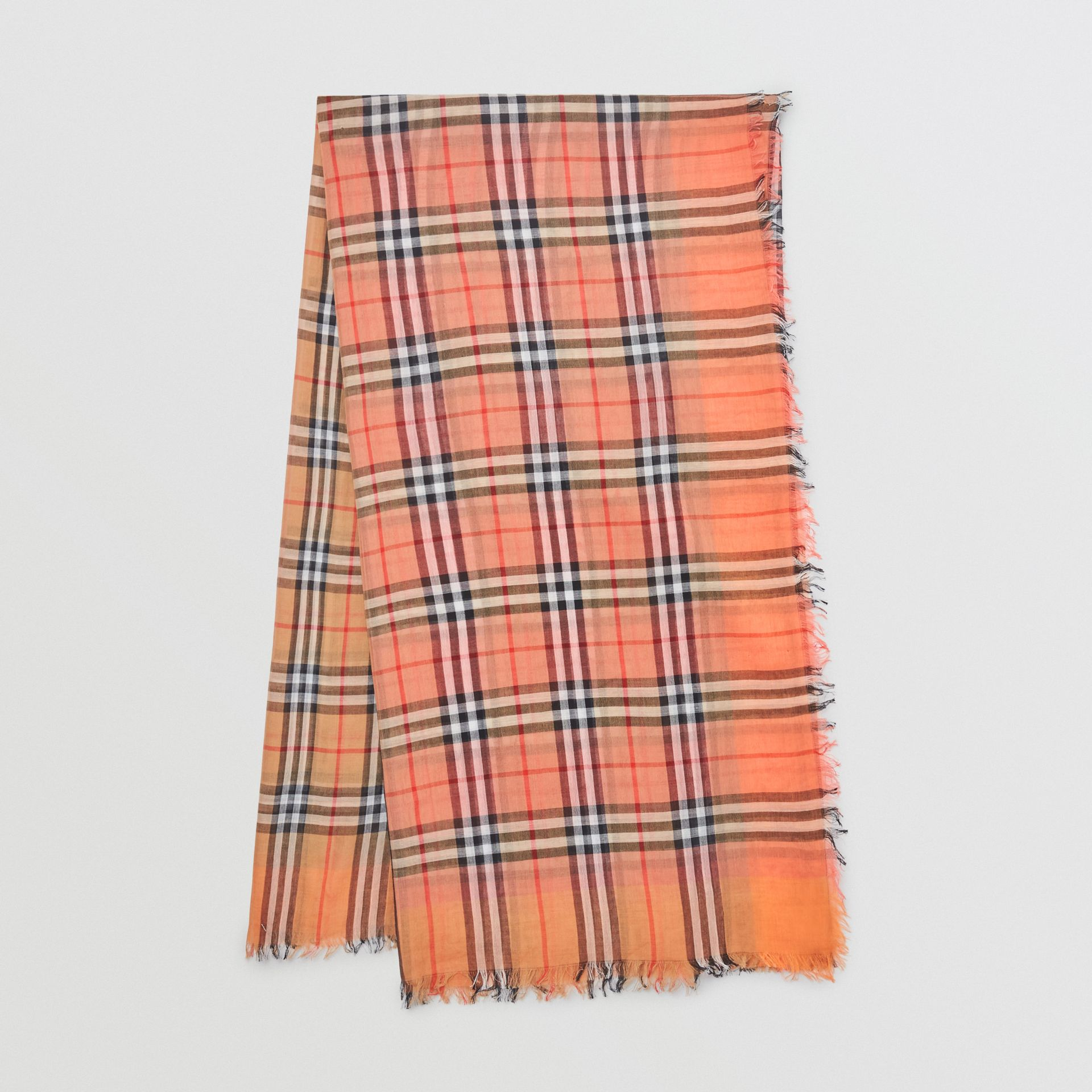 Two-tone Vintage Check Cotton Square Scarf in Coral Rose | Burberry United States - gallery image 0