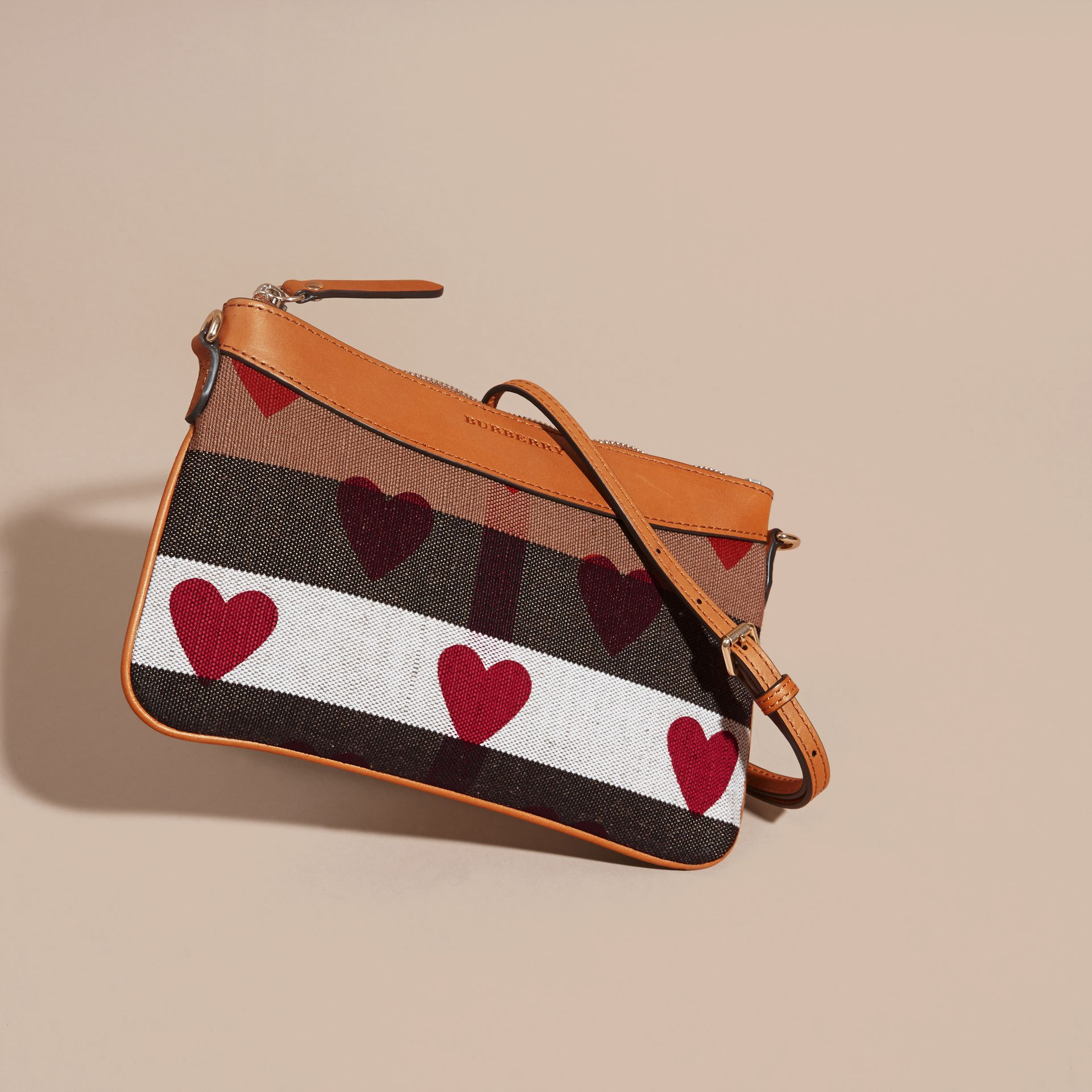 Parade red Heart Print Canvas Check Clutch Bag Parade Red - gallery image 8