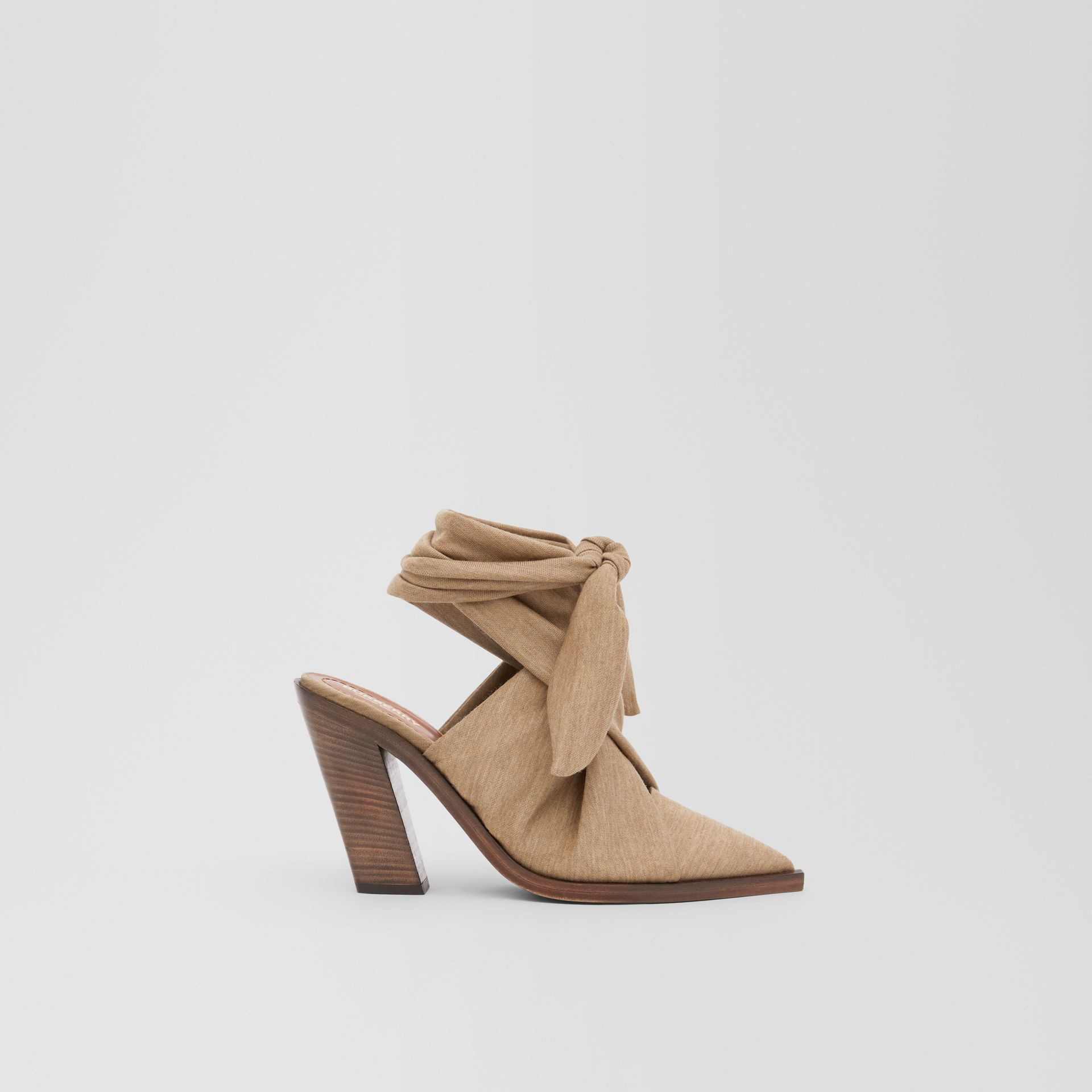 Scarf Tie Detail Technical Wool Point-toe Mules in Pecan Melange - Women | Burberry - gallery image 4