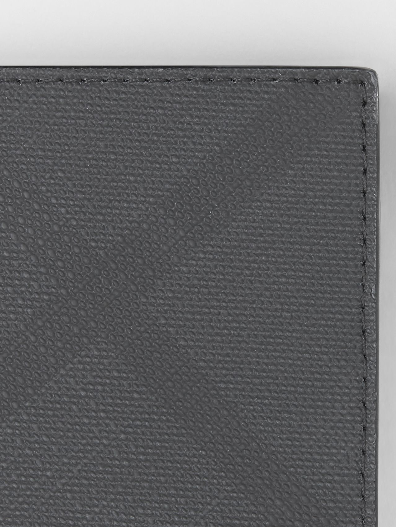 London Check and Leather Folding Card Case in Dark Charcoal