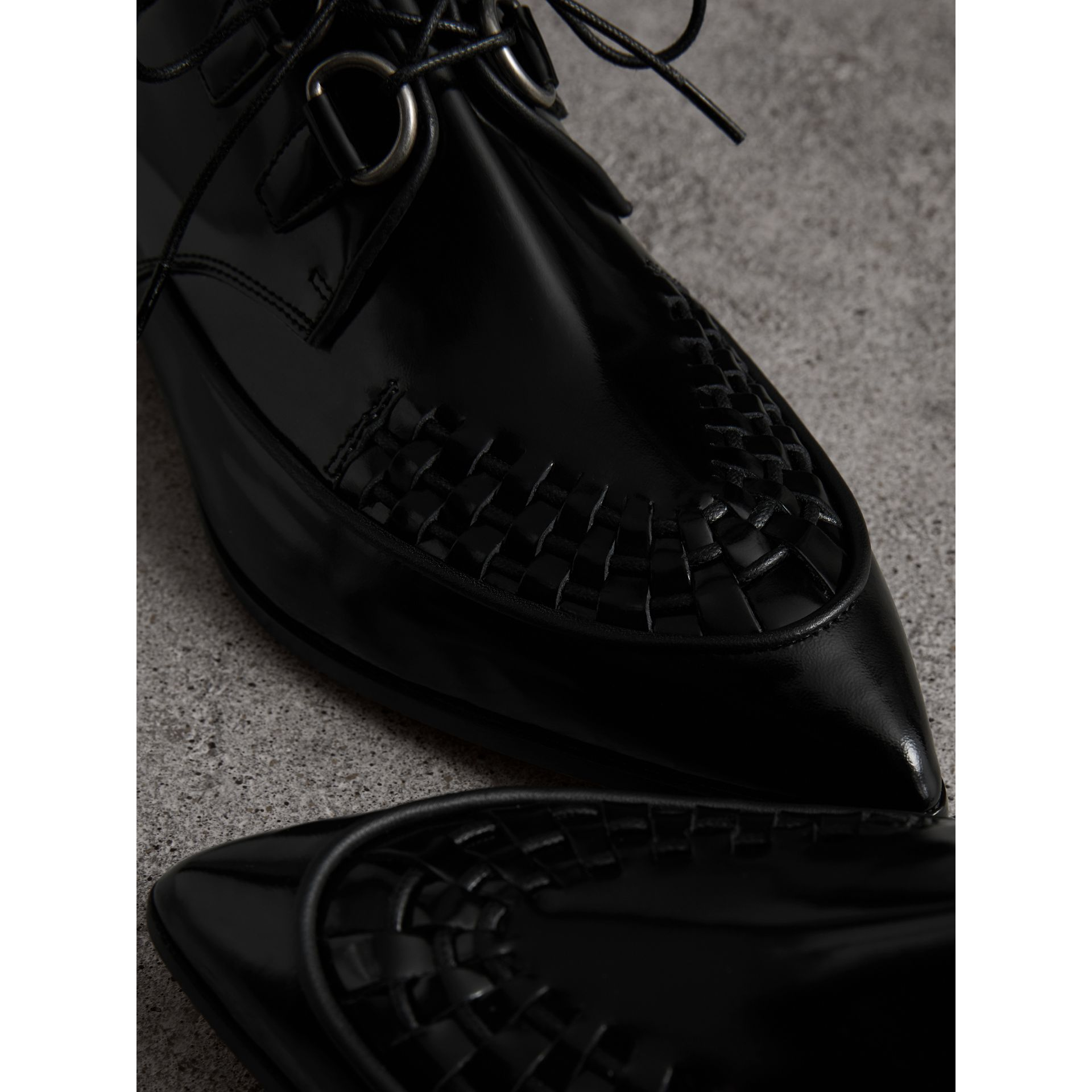 Woven-toe Polished Leather Derby Shoes in Black - Women | Burberry United Kingdom - gallery image 2