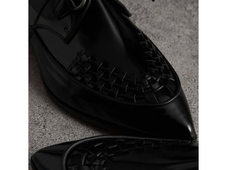Woven-toe Polished Leather Derby Shoes in Black - Women | Burberry - cell image 1