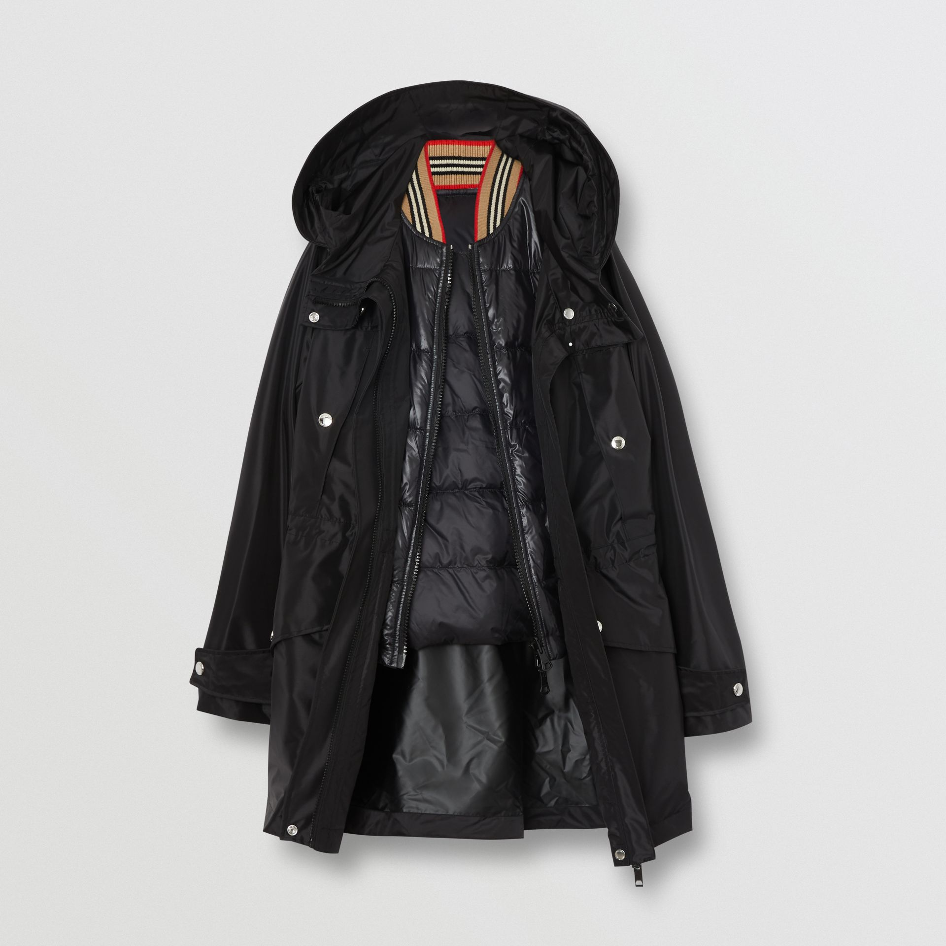 Coated Nylon Hooded Parka with Detachable Gilet in Black - Women | Burberry United States - gallery image 7
