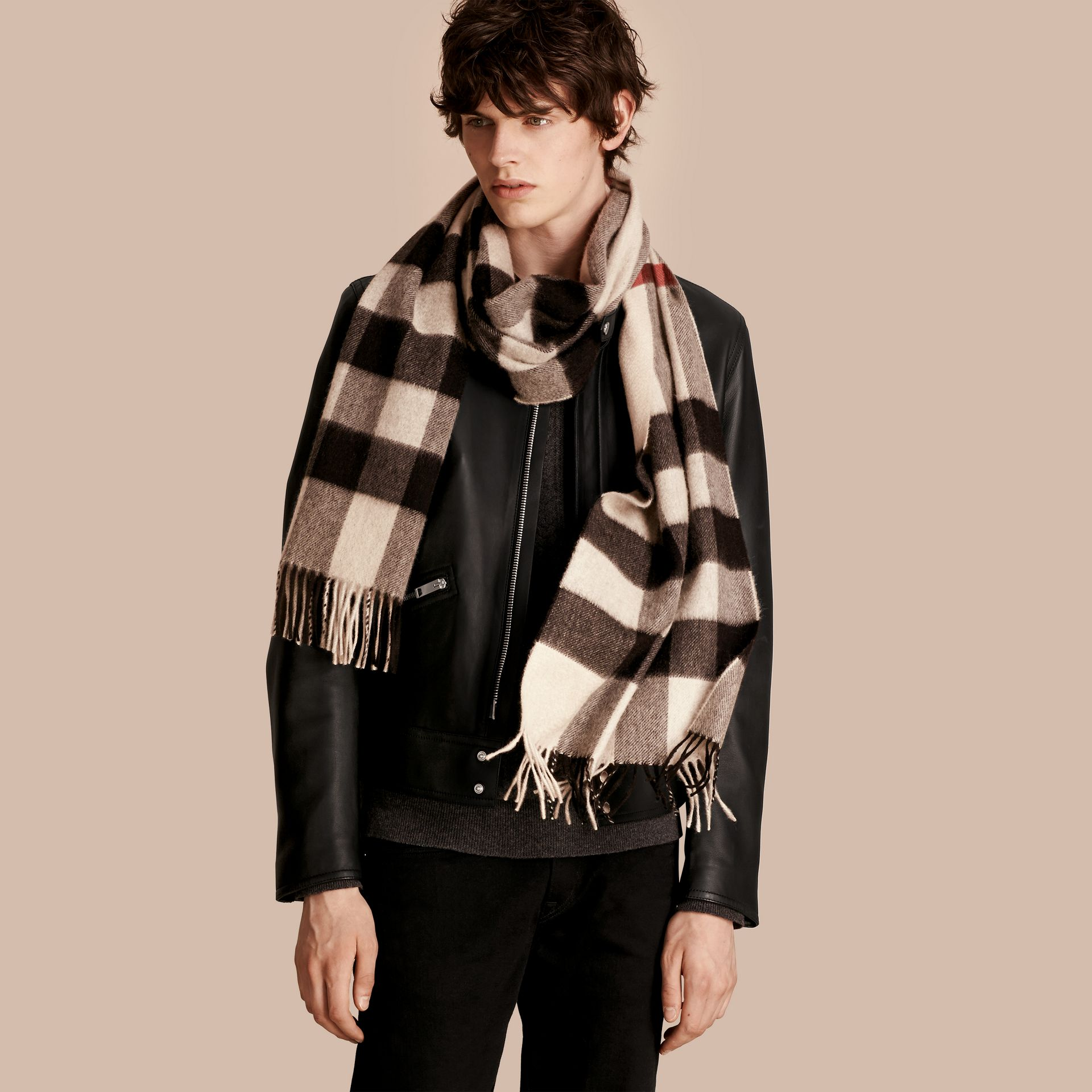 The Large Classic Cashmere Scarf in Check Stone - gallery image 4