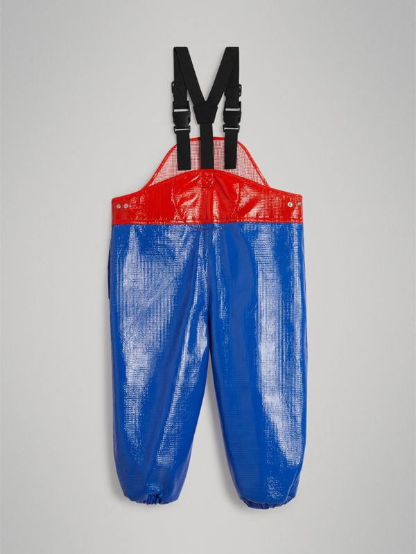 Two-tone Showerproof Dungarees in Cobalt Blue - Boy | Burberry - cell image 3