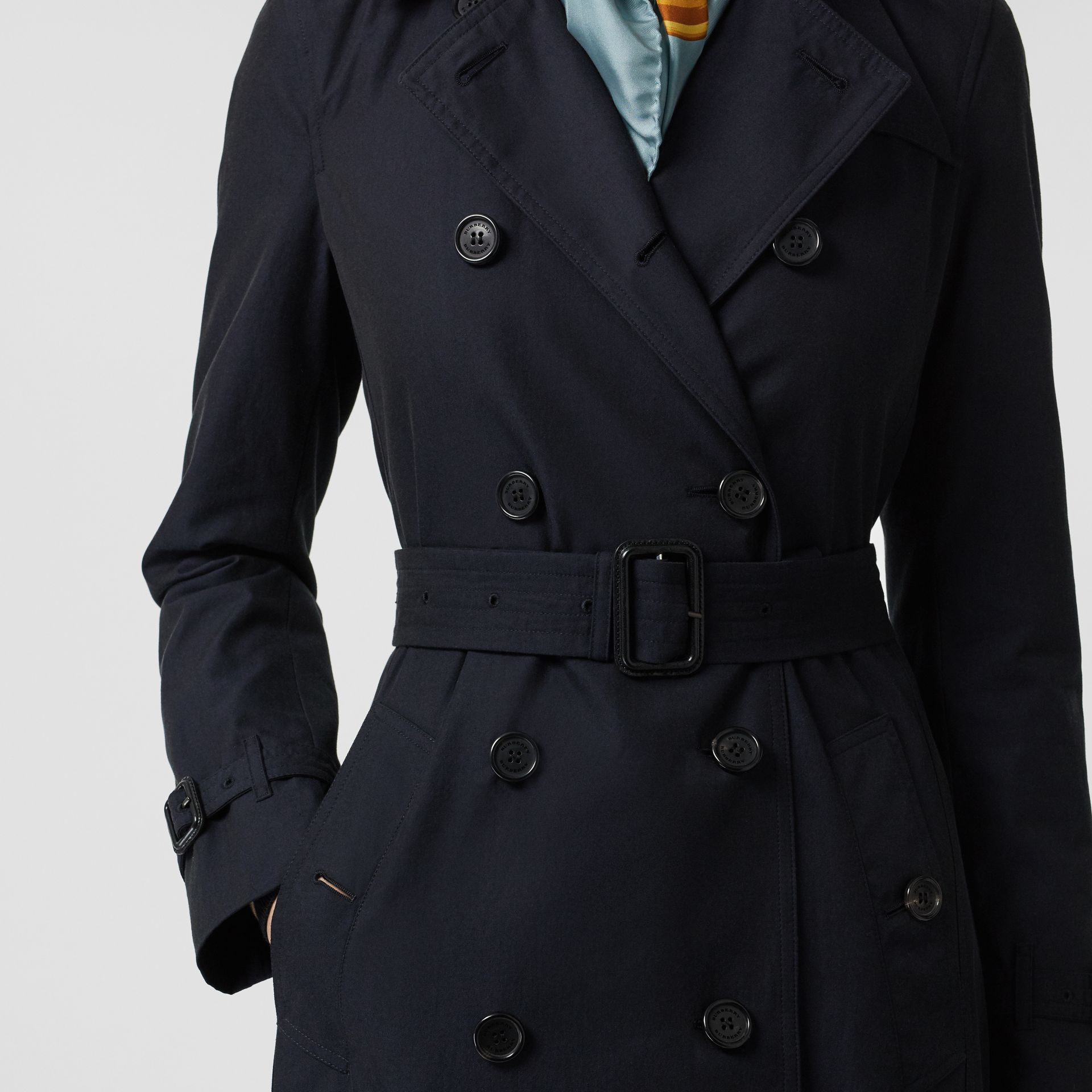 Kensington Fit Cotton Gabardine Trench Coat in Blue Carbon - Women | Burberry - gallery image 1