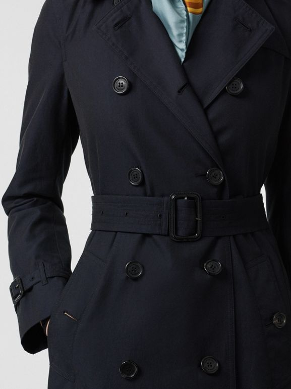 Kensington Fit Cotton Gabardine Trench Coat in Blue Carbon - Women | Burberry - cell image 1