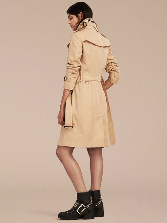 Honey Python Print Detail Cotton Gabardine Trench Coat - cell image 2