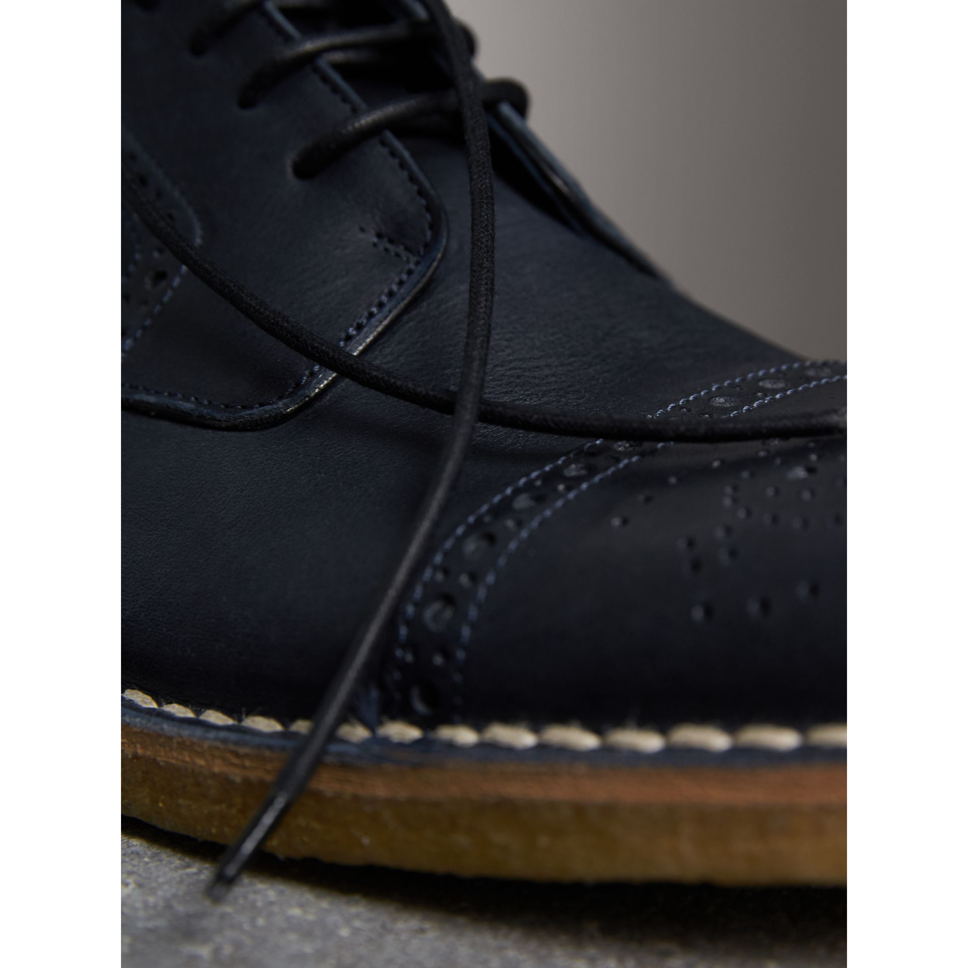 Raised Toe-cap Nappa Leather Brogues in Navy - Men | Burberry - gallery image 2