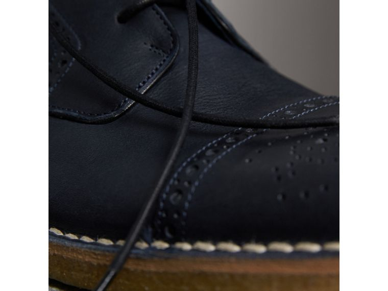 Raised Toe-cap Nappa Leather Brogues in Navy - Men | Burberry - cell image 1