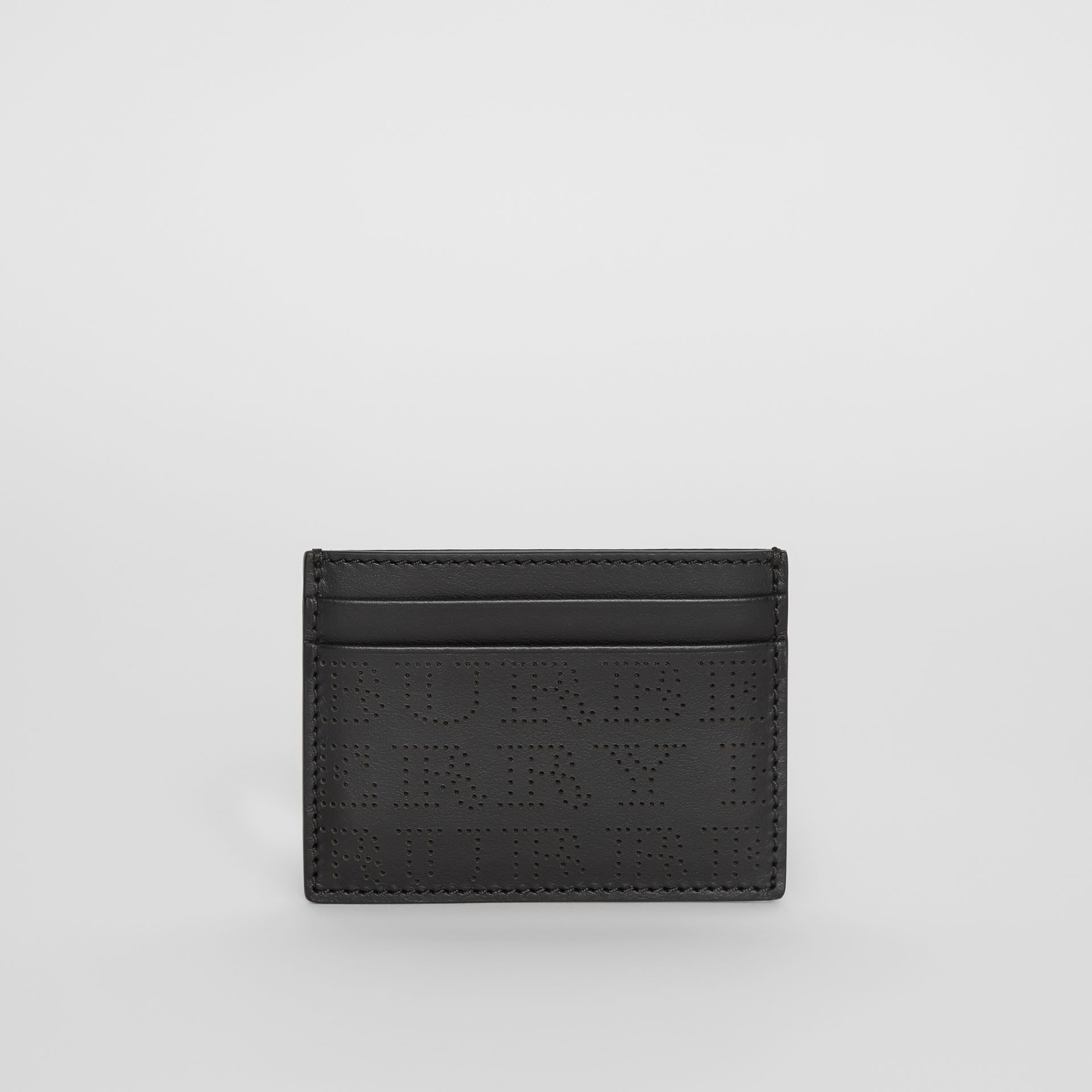 Perforated Logo Leather Card Case in Black - Men | Burberry Canada - gallery image 2