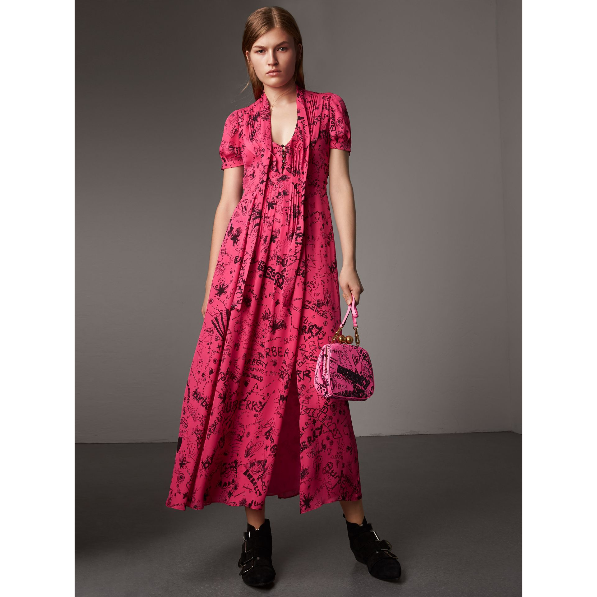 Doodle Print Silk Tie-neck Dress in Fluro Pink - Women | Burberry - gallery image 4