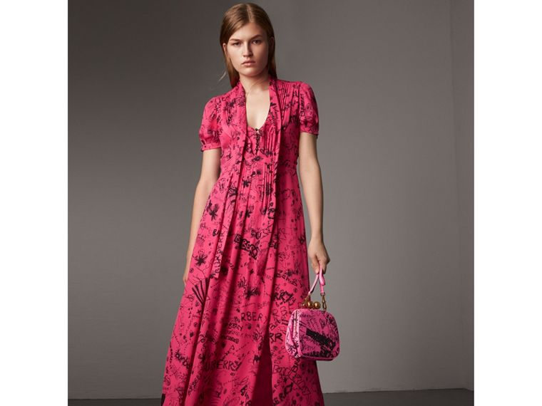 Doodle Print Silk Tie-neck Dress in Fluro Pink - Women | Burberry - cell image 4