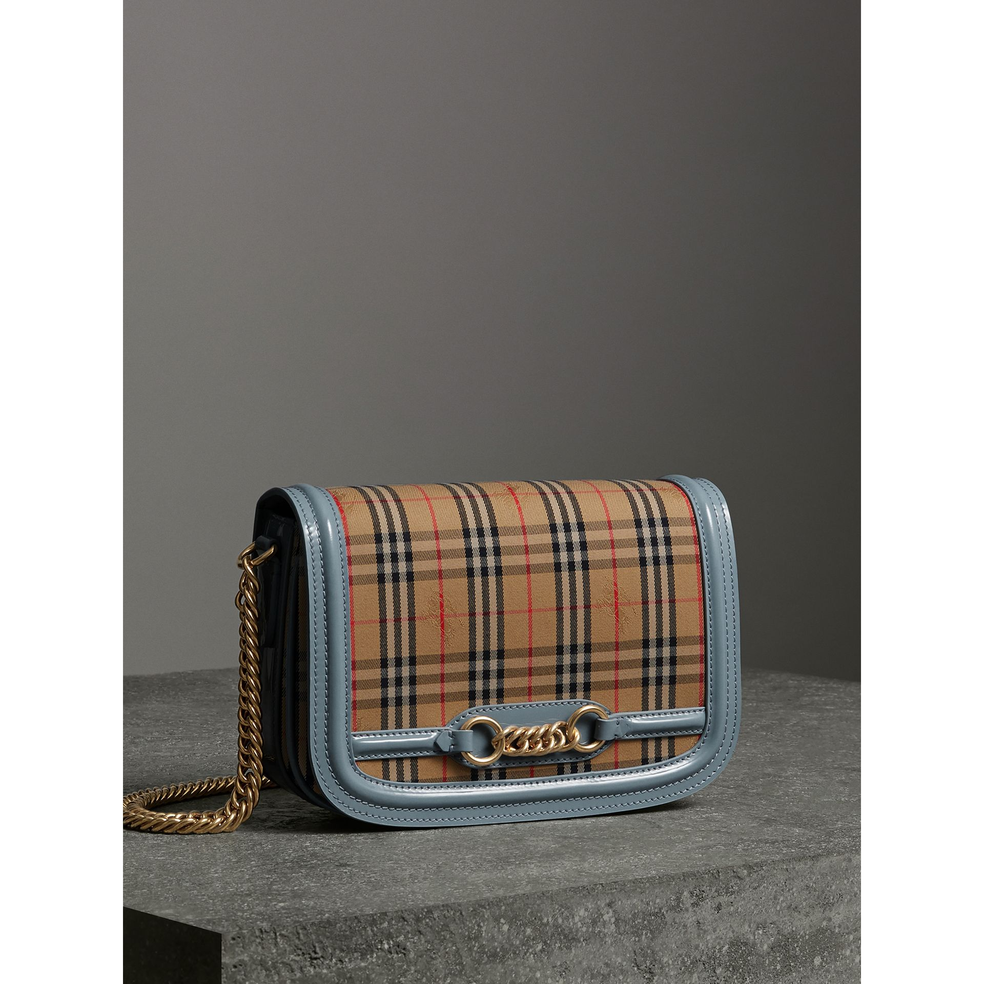 The 1983 Check Link Bag with Patent Trim in Blue Sage - Women | Burberry Canada - gallery image 8