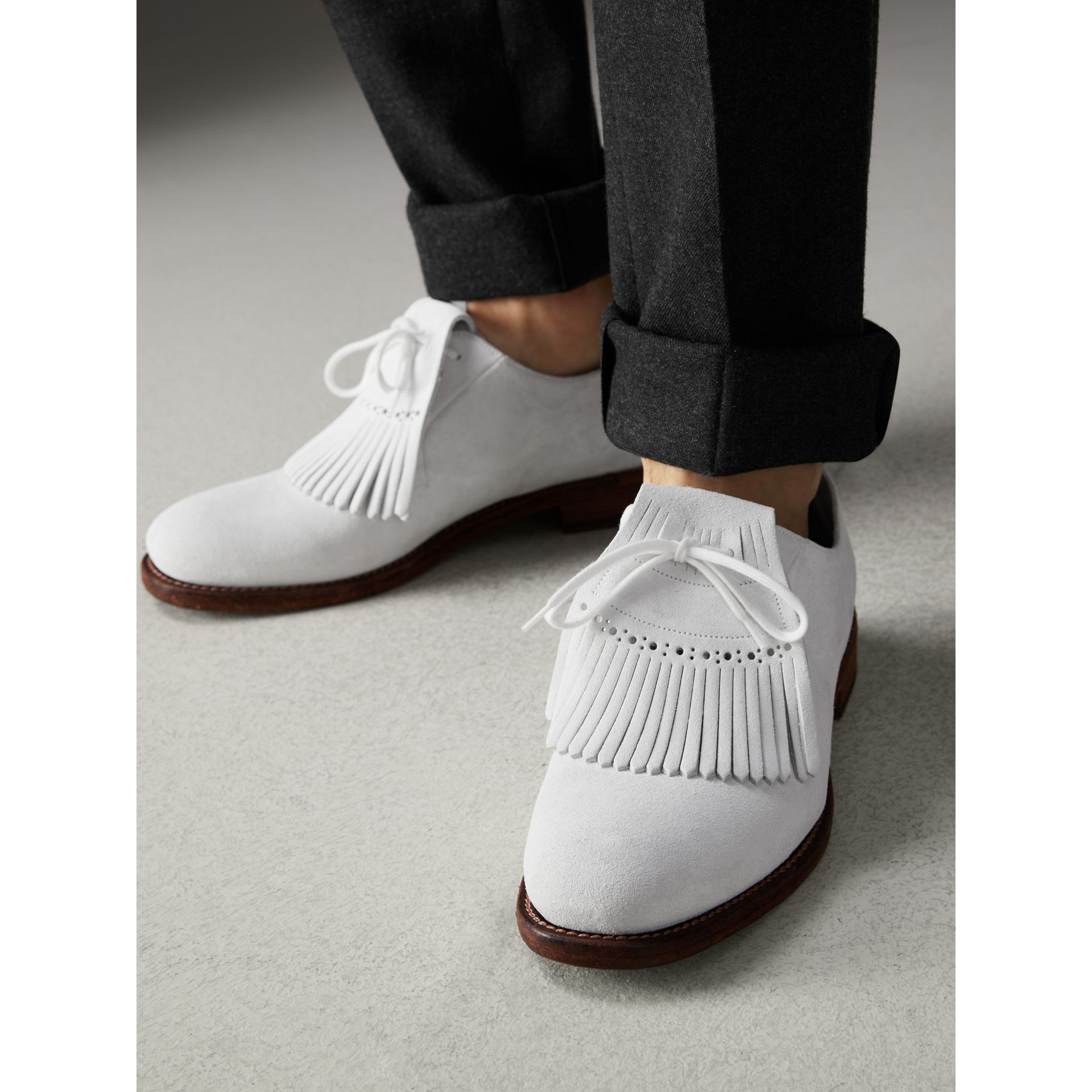 Lace-up Kiltie Fringe Suede Loafers in Off White - Men | Burberry Singapore - gallery image 2