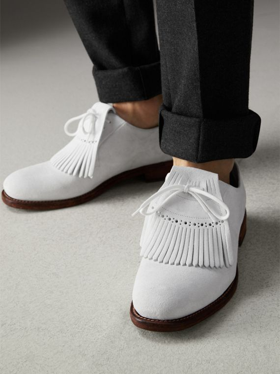 Lace-up Kiltie Fringe Suede Loafers in Off White - Men | Burberry Singapore - cell image 2