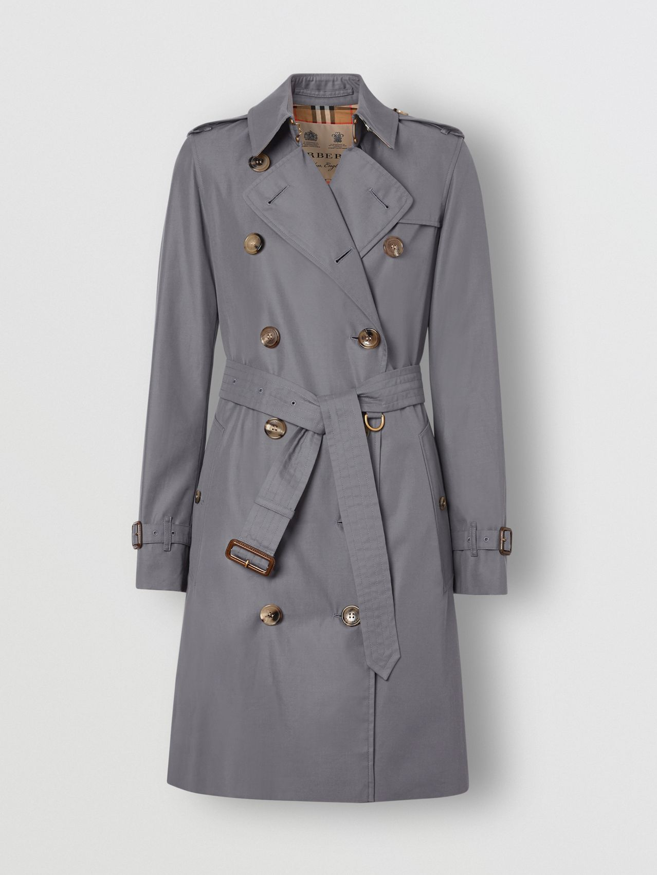 The Mid-length Kensington Heritage Trench Coat in Mid-grey