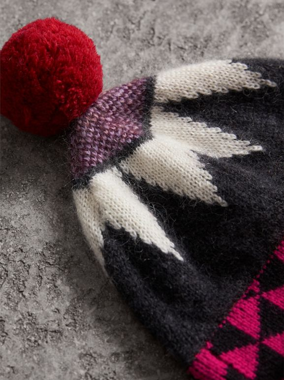 Geometric Wool Cashmere Blend Beanie in Charcoal/red - Women | Burberry - cell image 1