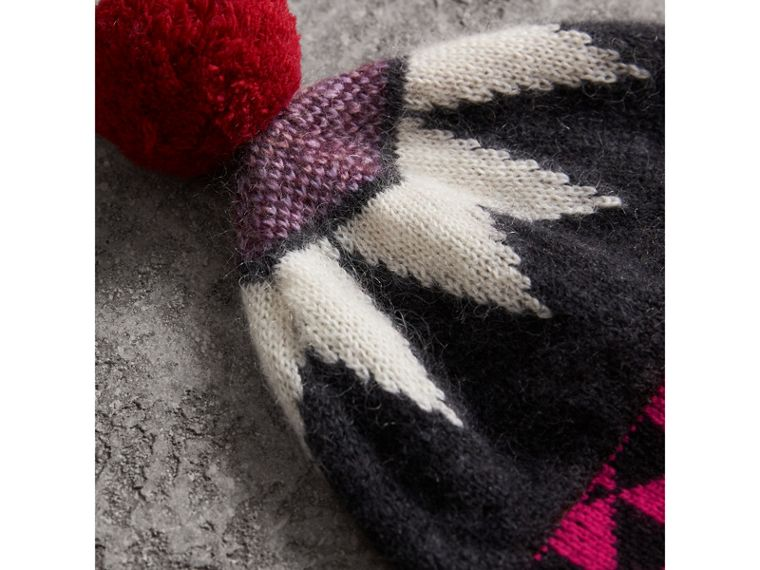 Geometric Wool Cashmere Blend Beanie in Charcoal/red | Burberry - cell image 1