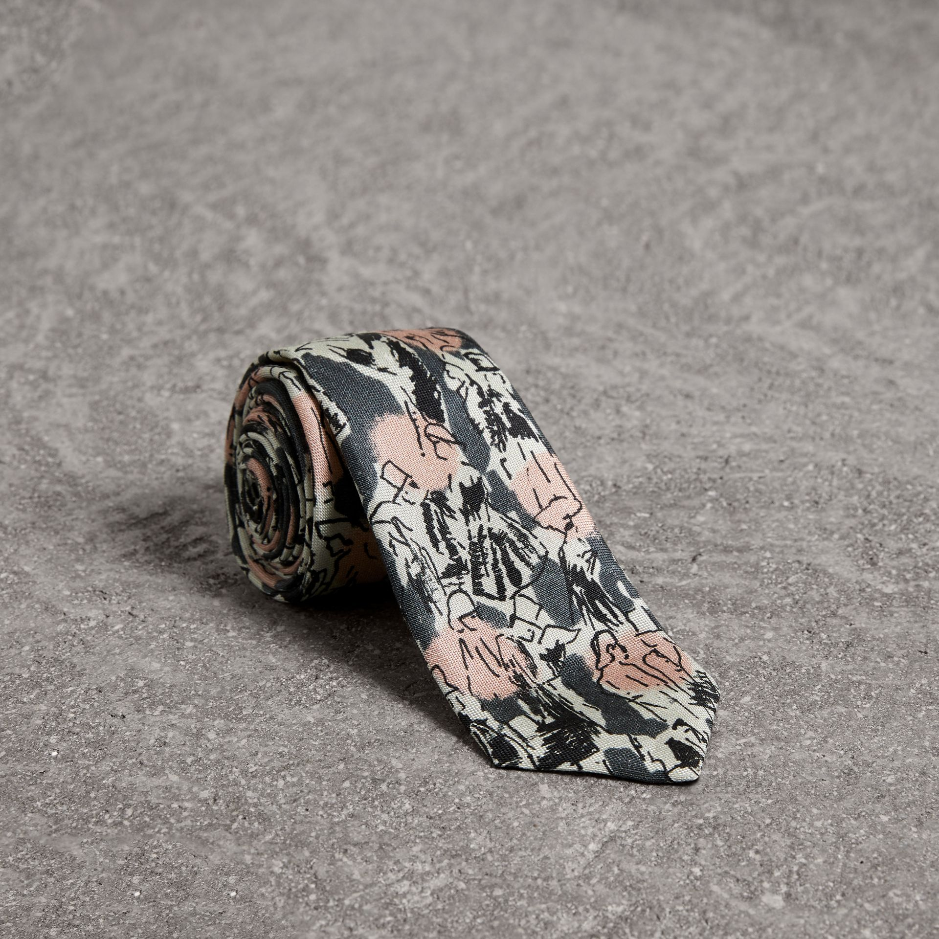 Slim Cut Figurative Print Linen Silk Tie in Mid Grey - Men | Burberry - gallery image 0