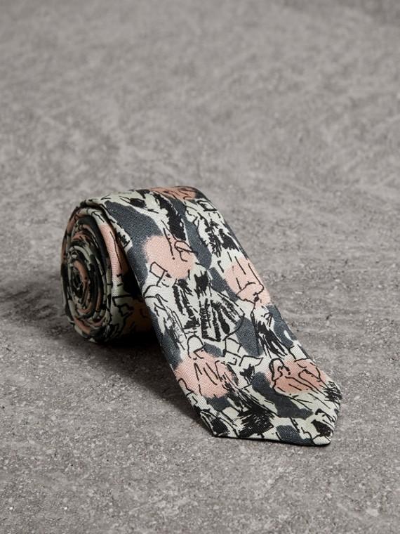 Slim Cut Figurative Print Linen Silk Tie in Mid Grey