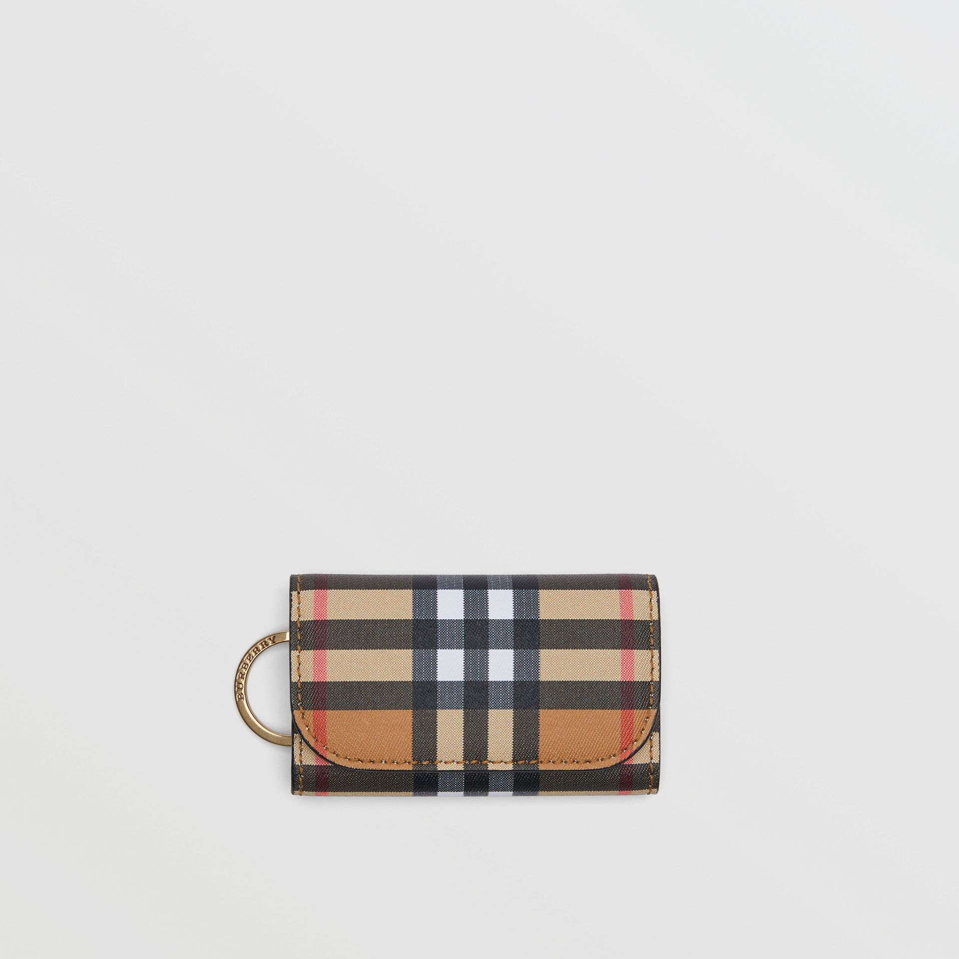 Vintage Check and Leather Key Case in Black - Women | Burberry - gallery image 0