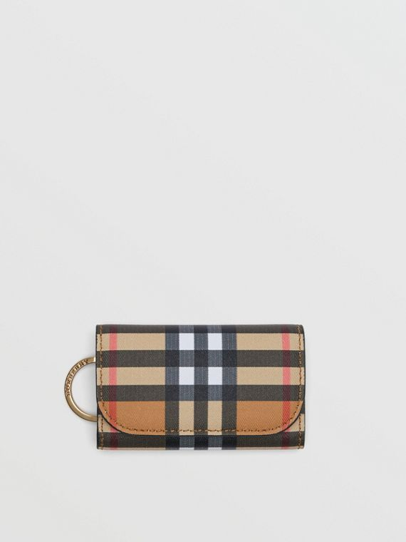 Vintage Check and Leather Key Case in Black
