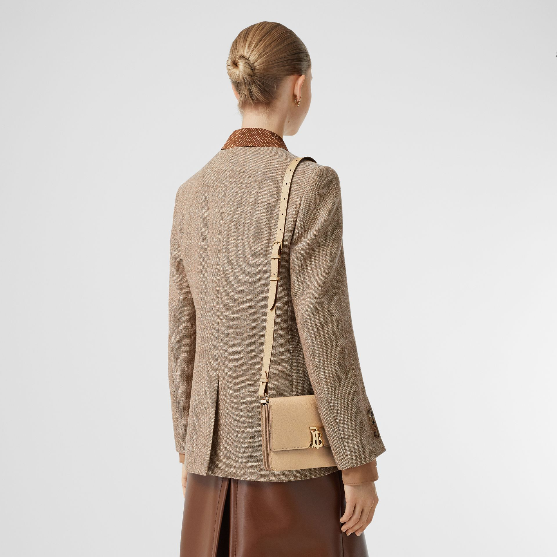 Small Monogram Motif Leather Crossbody Bag in Archive Beige - Women | Burberry Canada - gallery image 2