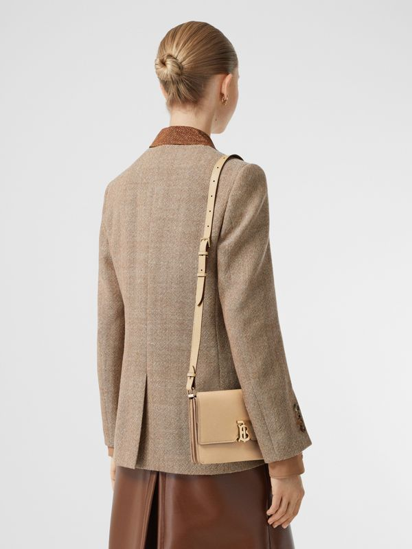 Small Monogram Motif Leather Crossbody Bag in Archive Beige - Women | Burberry - cell image 2