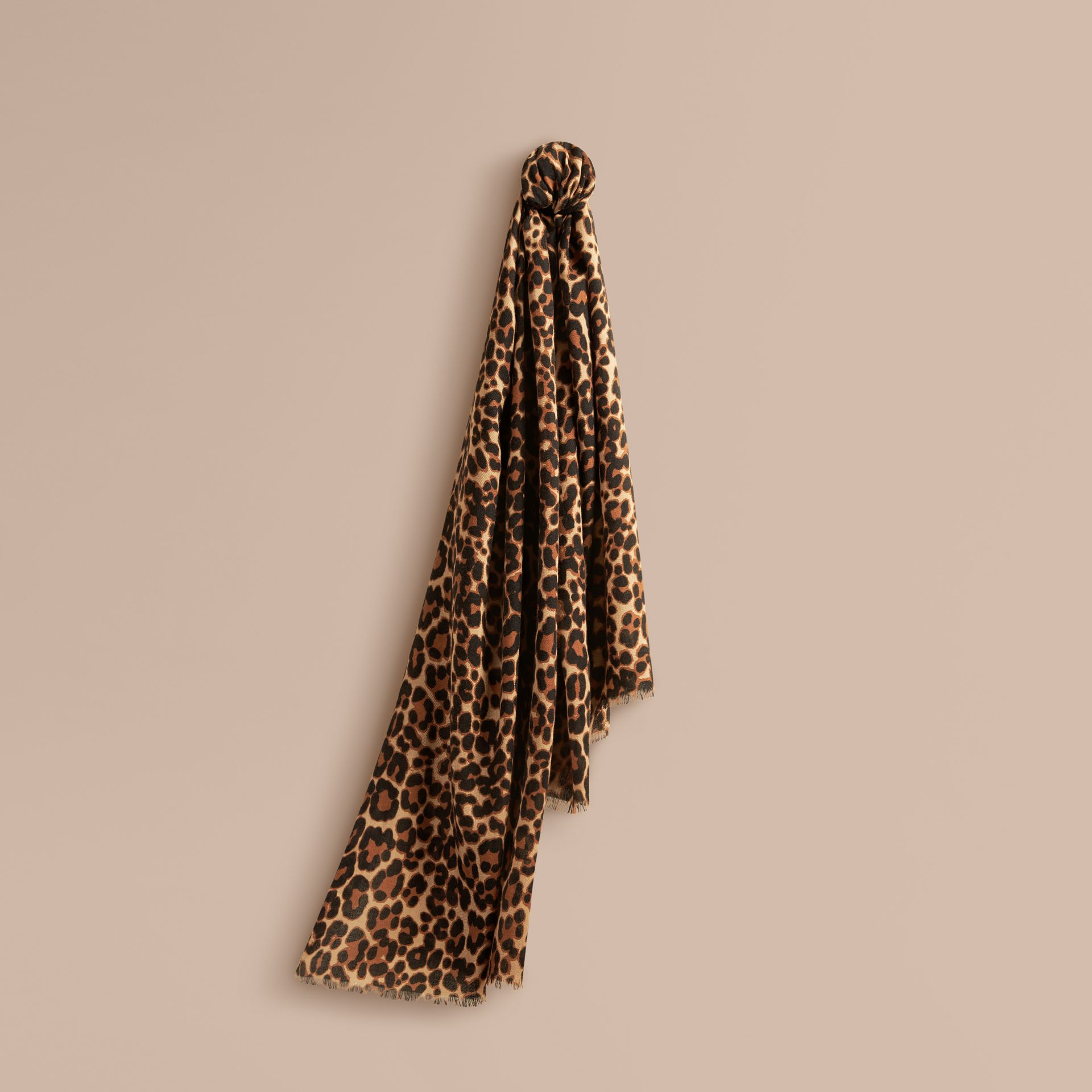 Camel The Lightweight Cashmere Scarf in Animal Print - gallery image 1