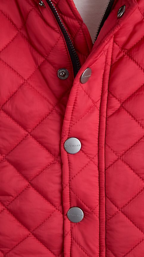 Military red Check Detail Diamond Quilted Jacket - Image 3