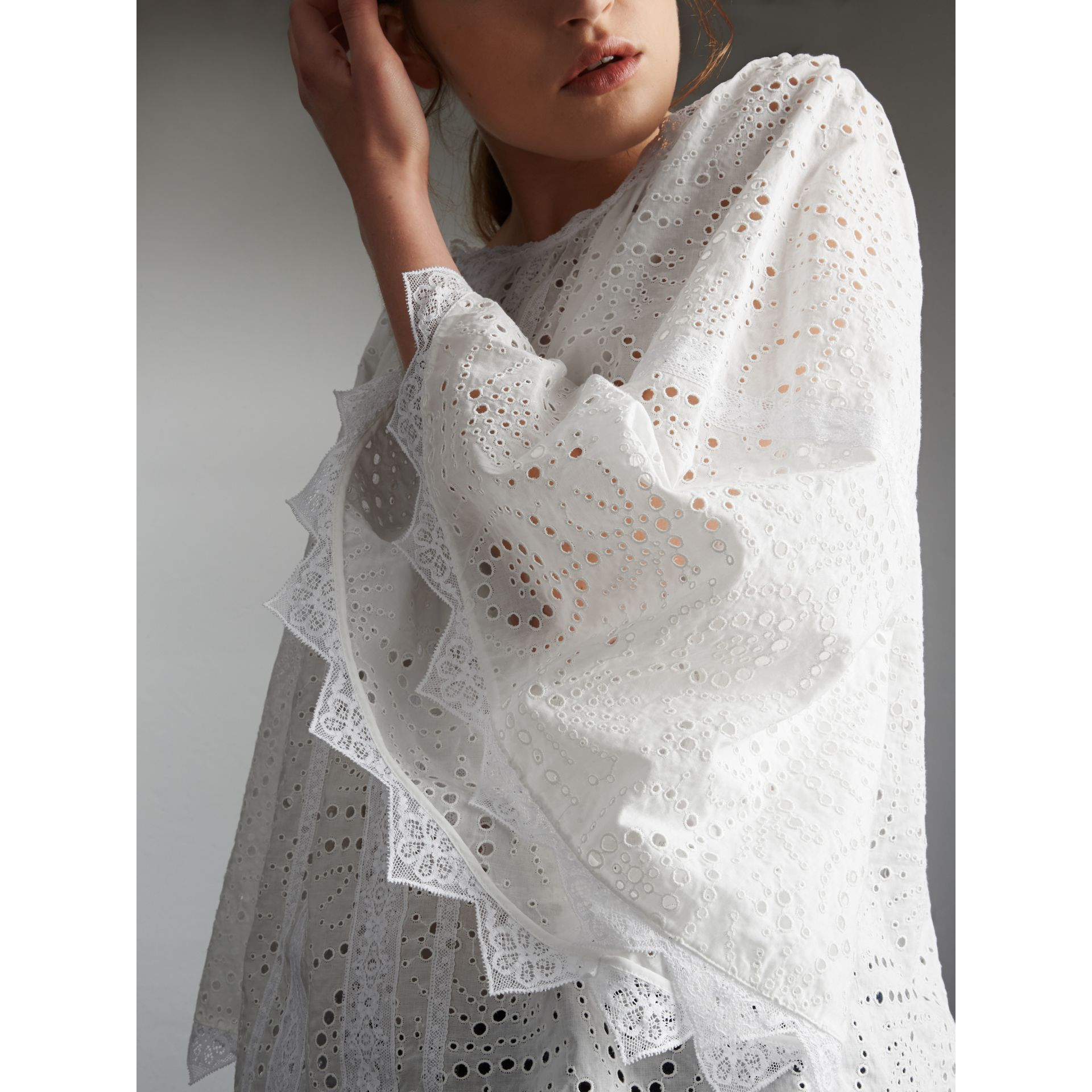 Broderie Anglaise Flared Top in White - Women | Burberry - gallery image 2