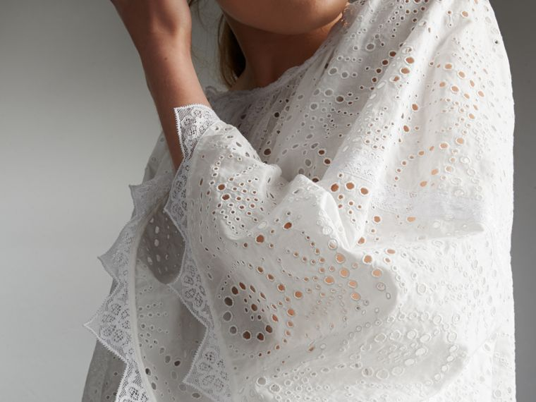 Broderie Anglaise Flared Top - Women | Burberry - cell image 1