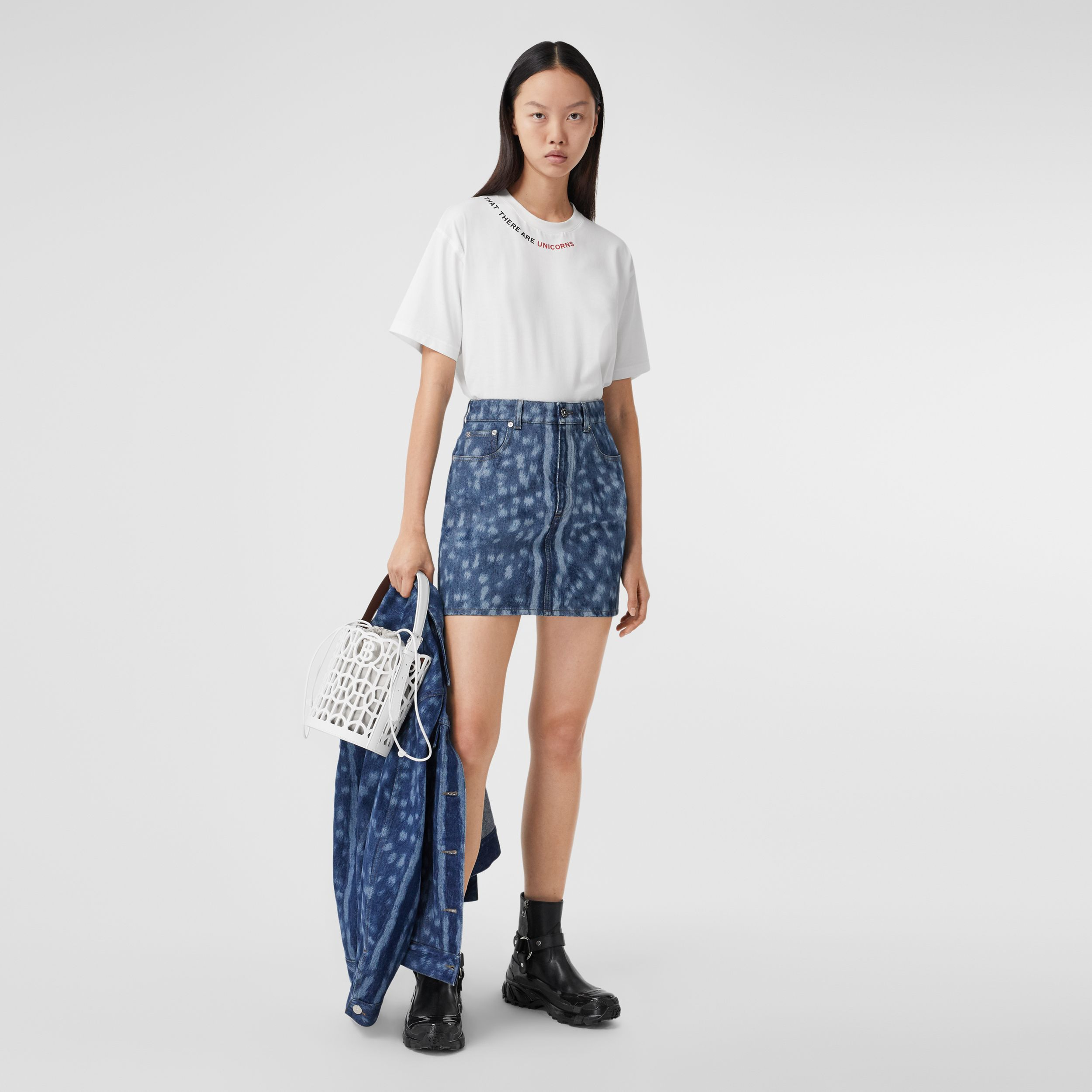 Deer Print Denim Mini Skirt in Mid Indigo - Women | Burberry - 1
