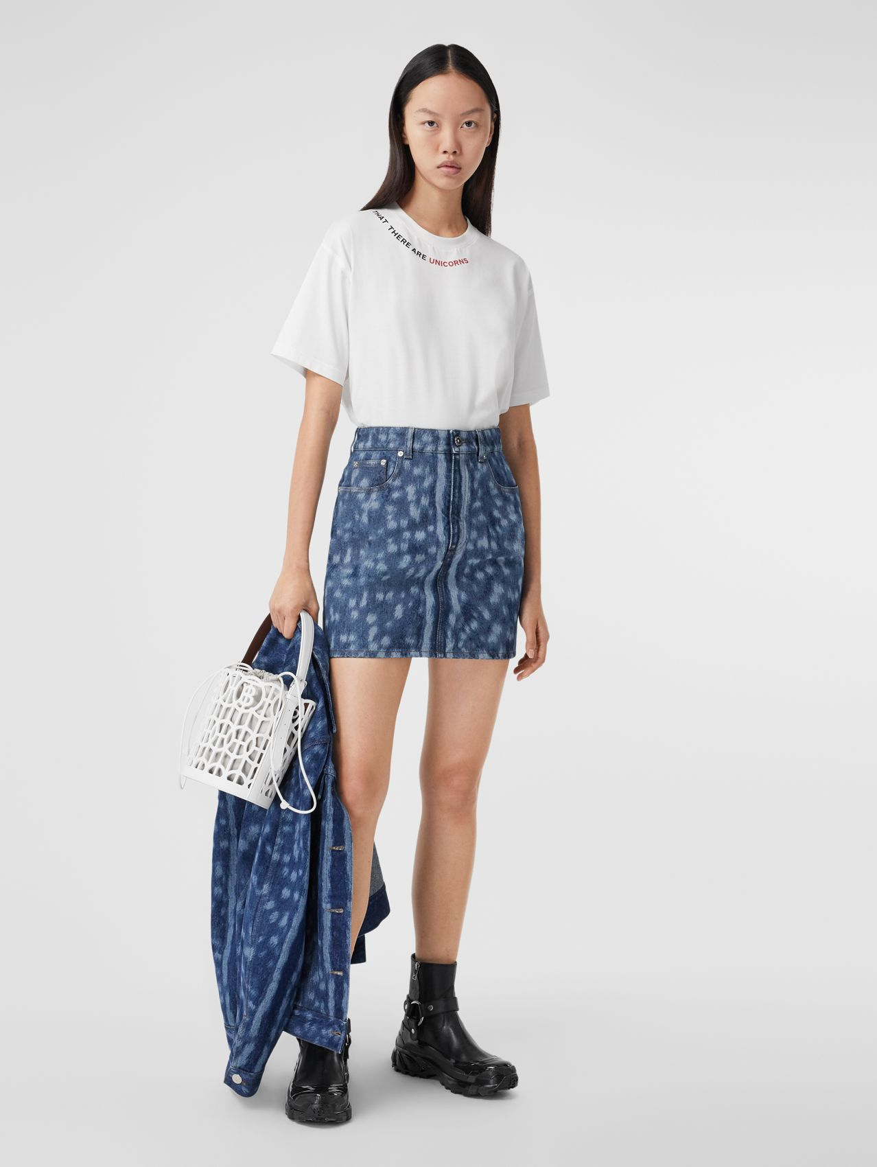 Deer Print Denim Mini Skirt in Mid Indigo