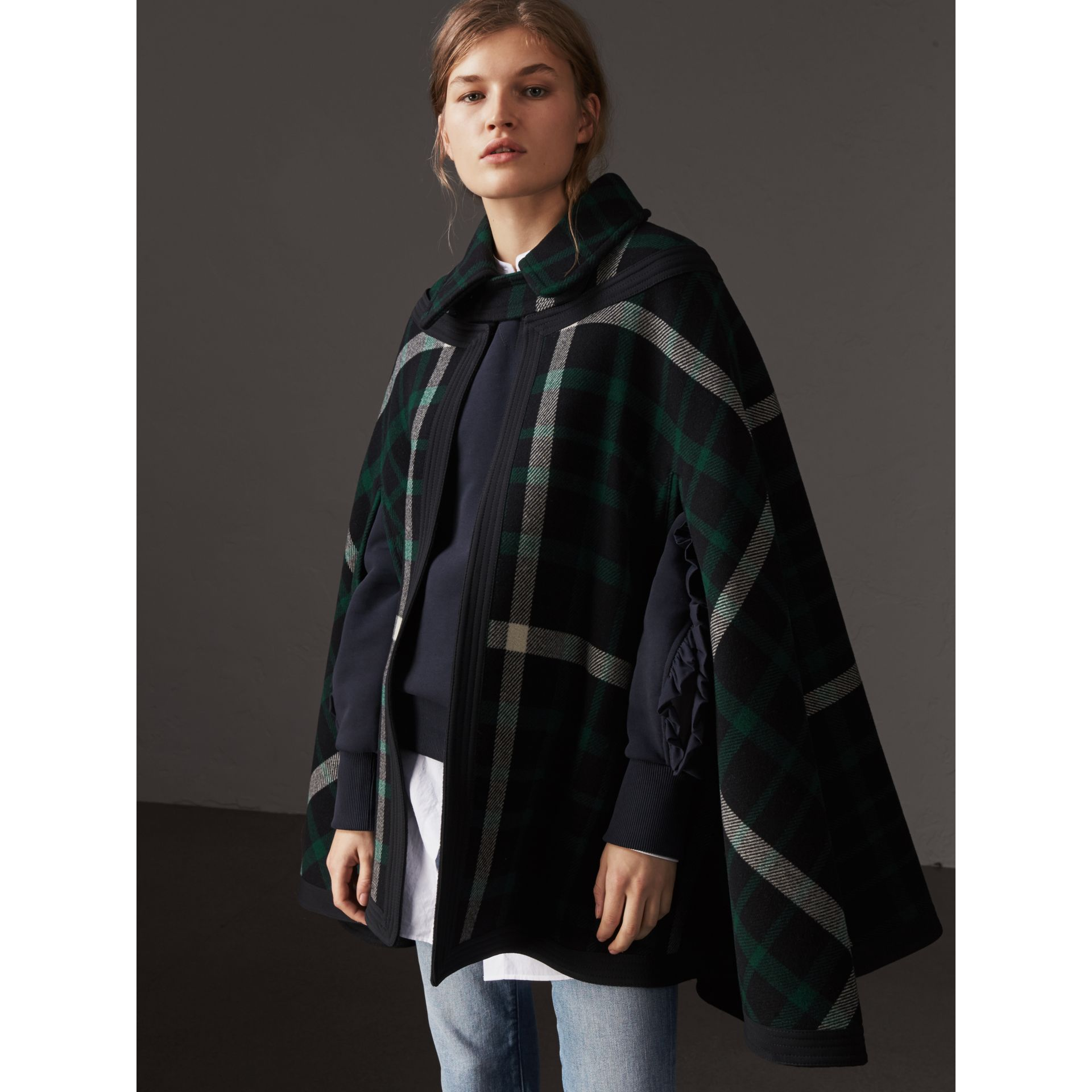 Exploded Tartan Wool Cape in Black/black - Women | Burberry - gallery image 5