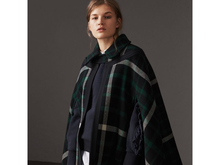 Exploded Tartan Wool Cape in Black/black - Women | Burberry - cell image 4