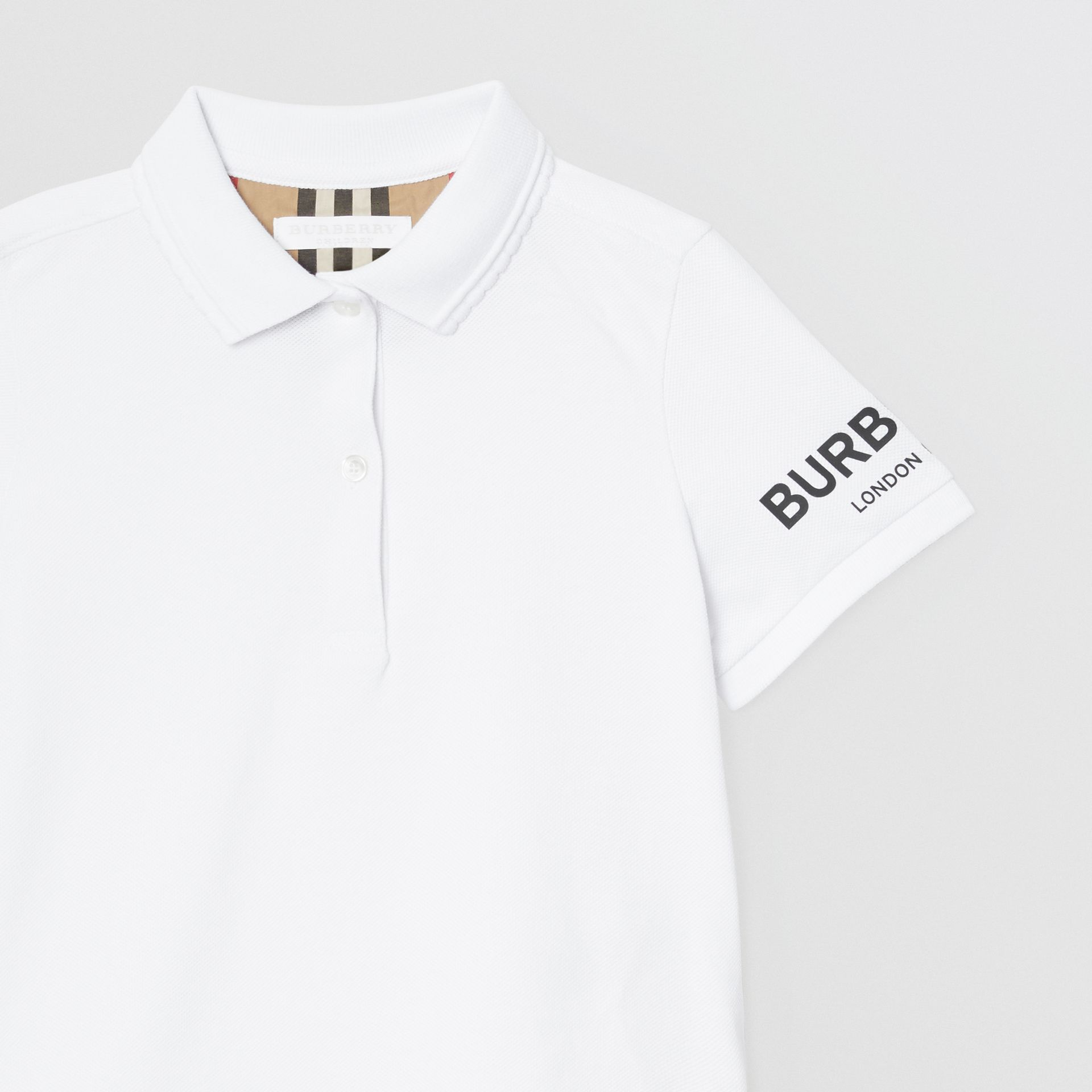 Logo Print Cotton Piqué Polo Shirt in White | Burberry Australia - gallery image 4