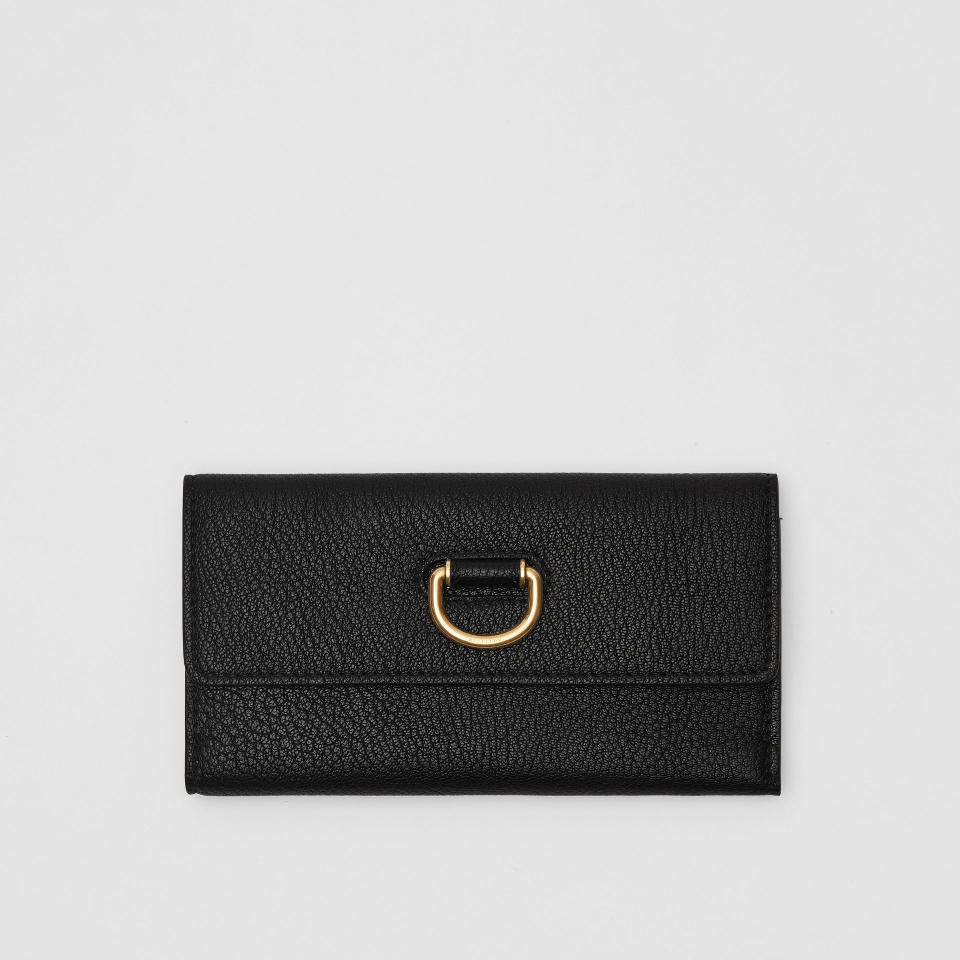 D-ring Grainy Leather Continental Wallet in Black - Women | Burberry Australia - gallery image 0