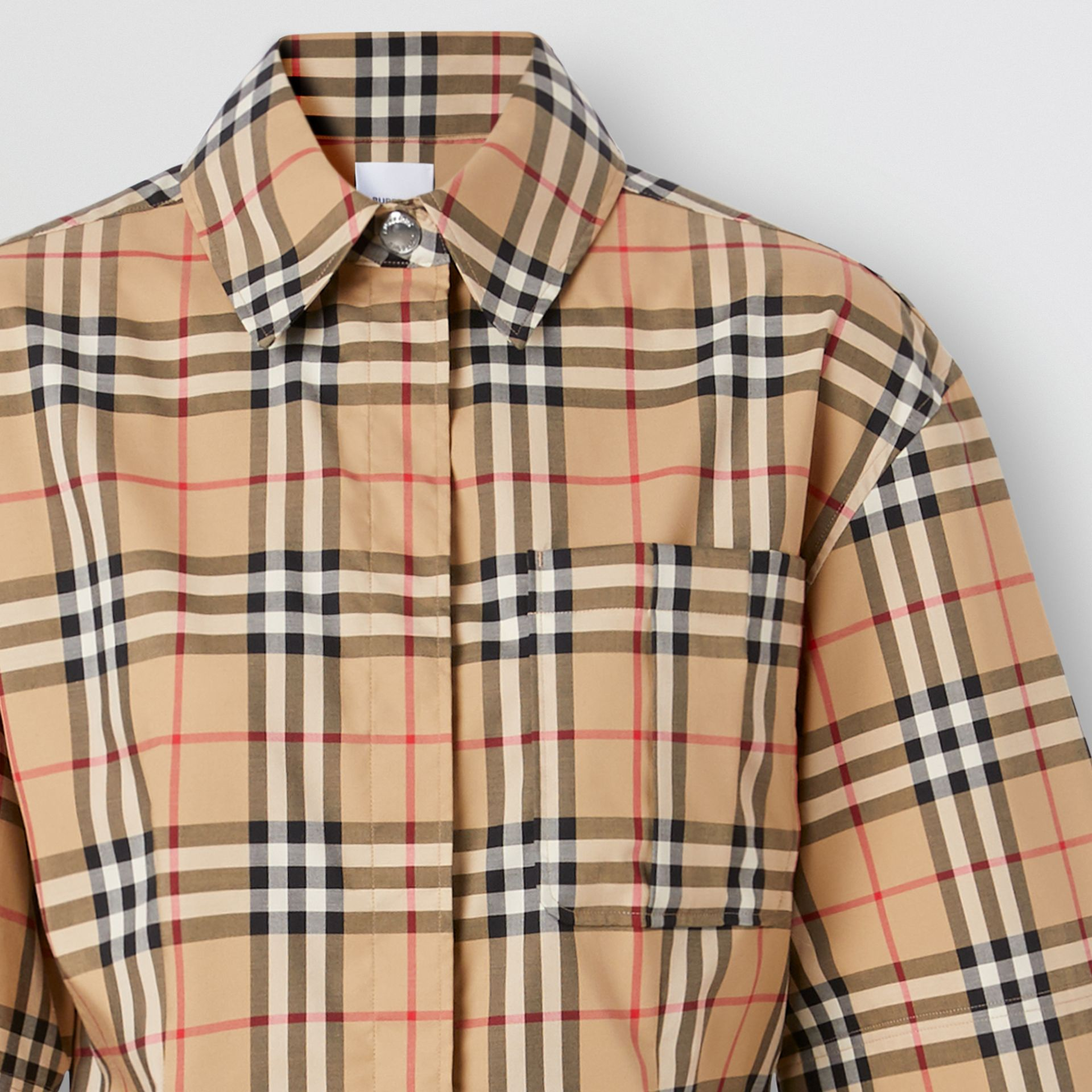 Short-sleeve Vintage Check Stretch Cotton Shirt in Archive Beige - Women | Burberry United Kingdom - gallery image 5