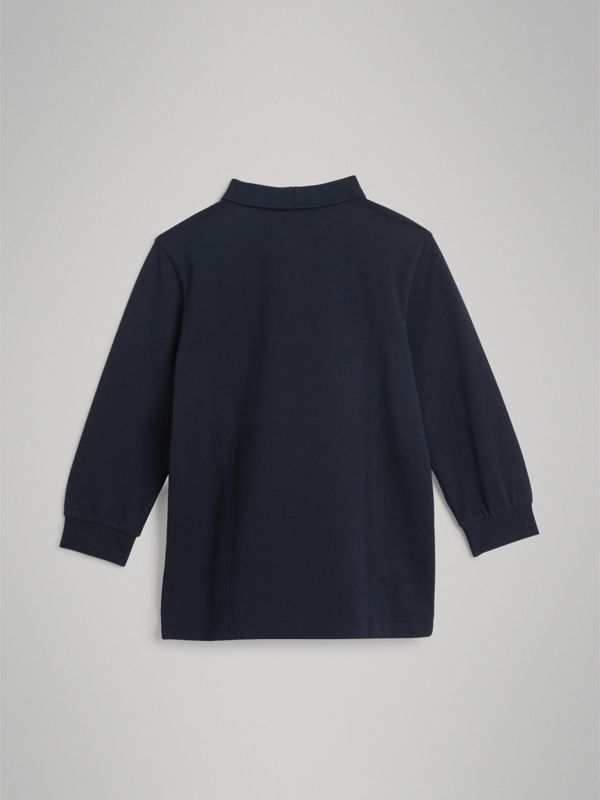 Long-sleeve Cotton Piqué Polo Shirt in Navy | Burberry - cell image 3
