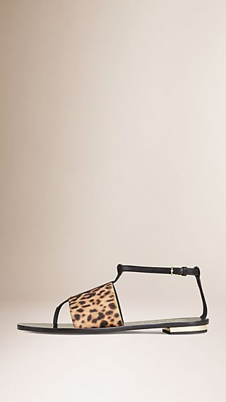 Leather and Animal Print Calfskin Sandals