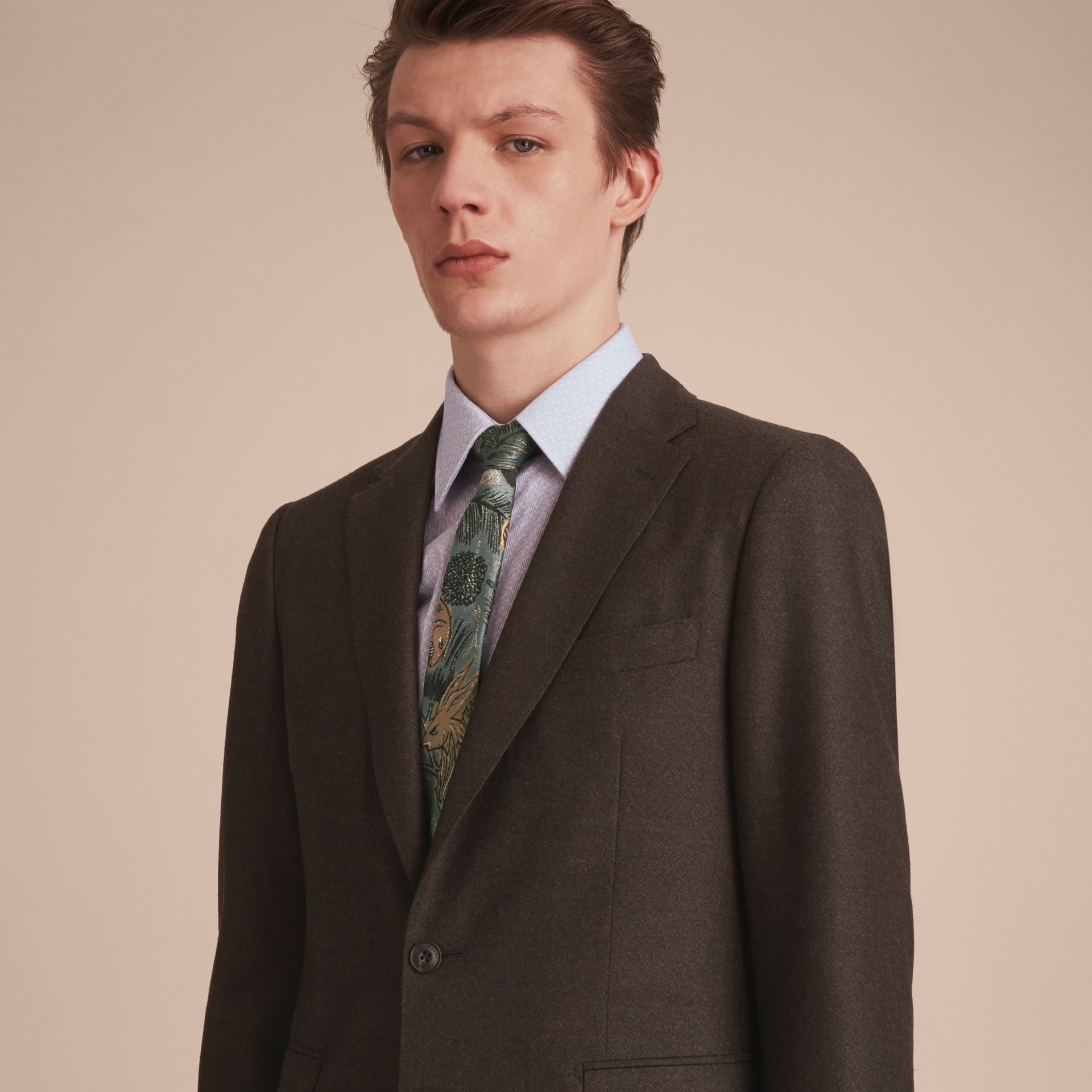Slim Cut Beasts Jacquard Silk Tie in Sage Green - Men | Burberry United Kingdom - gallery image 3