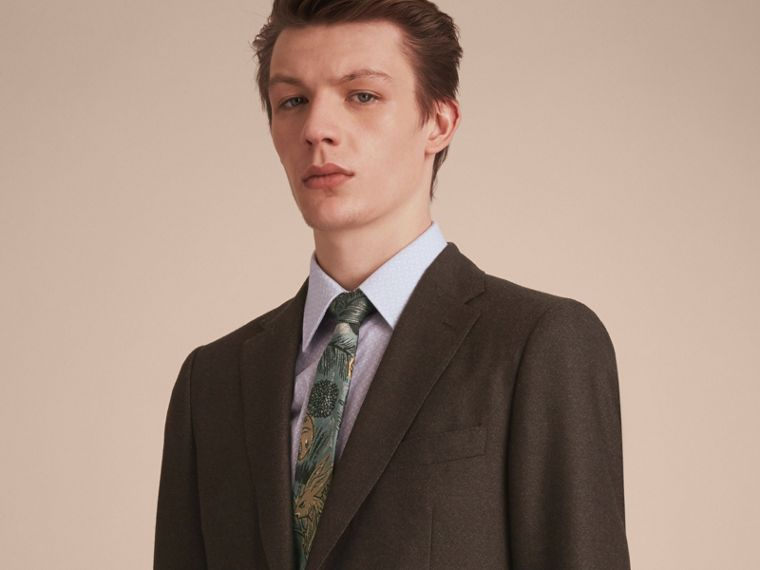 Slim Cut Beasts Jacquard Silk Tie in Sage Green - Men | Burberry - cell image 2