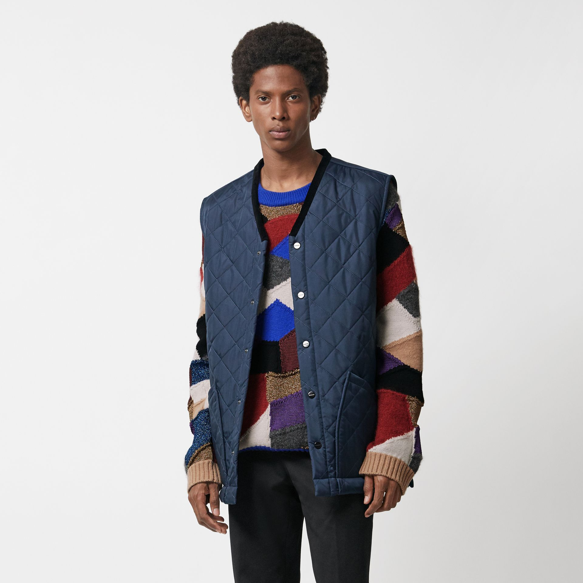 Diamond Quilted Gilet in Bright Navy - Men | Burberry Singapore - gallery image 5