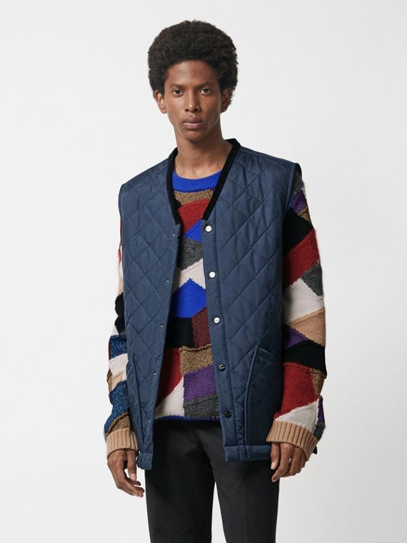 Diamond Quilted Gilet in Bright Navy